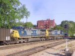 CSX 201 & 154 lead their train westbound