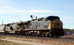 CSX 38 leads train Q477-12 towards the yard