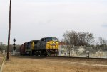 CSX 7732 leads a train out of the yard on track 3