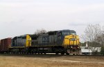 CSX 7732 & 8871 lead a train toward Bridges Street