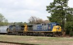 CSX 221 & 154 lead a train towards the yard