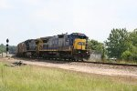 CSX 7621 & 7807 lead a train out of the yard