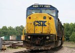 CSX 8776 is on the lead of a train on the eastbound departure track
