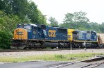 CSX 782 & 238 lead a train out of the yard