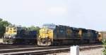 CSX 5398 & 4515 lead train G950 past a switcher at Hamlet yard