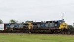 CSX 438 & 289 lead train Q471-03 towards the yard