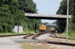 CSX 3196 leads train Q192-18 past train W251-18
