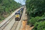 CSX 8418 leads a train towards the yard