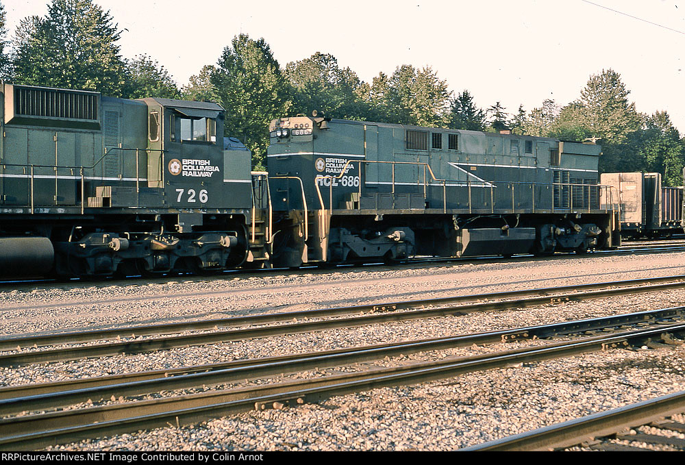 MLW M-630W BCOL 726 and MLW M-420B BCOL RCL 686 at north Vancouver yard