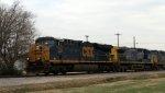 CSX 834 leads train F728 towards the yard