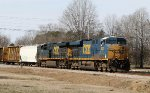 CSX 5422 leads train F728 eastbound, out of the yard