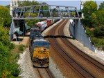CSX passing under the ped bridge with rail fanatic above