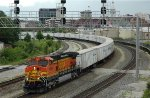 BNSF Dash 9 hauls an NS roadrailer