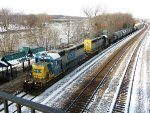 CSX train along the icy Wabash River