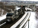Hot NS stack train roars thru wintry Lafayette