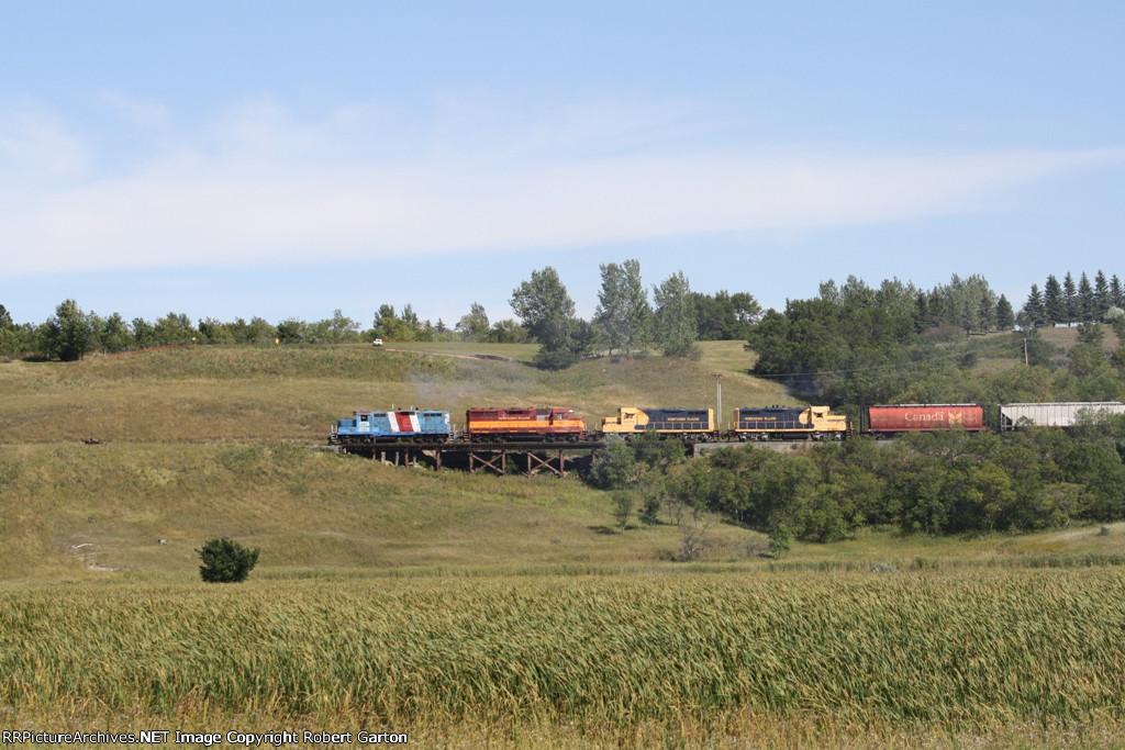 NPR 2285 Takes a Train Over a Small Trestle