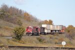 CP 8763 Brings A Doublestack Train Through the Des Lacs Hills on an Early Fall Day