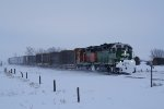 BNSF 2280 Heads North From Berthold via Niobe to Northgate