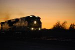 BNSF 7849 lights up BNSF Swoosh Reflective Logo and her LED road number lights standout as she rolls east at Sunset into the BNSF Barstow yard for a crew change.