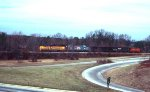Chessie 4223/CSX 1831 lead two hopper cars and L&N caboose