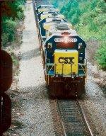 CSX 8362 leads hopper train south