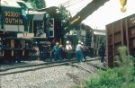 Southern Railway crane lifts a truck set onto the rails