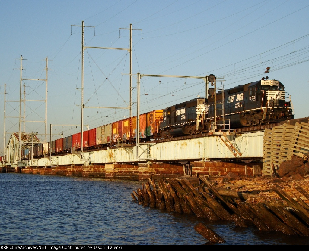 Freight Train on Raritan River Drawbridge