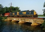 GP40s cross the South River Bridge (at high tide)