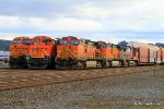 BNSF 4447 is hauling cars probably destined for the Boeing plant in Everett, WA
