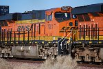 BNSF 7901 heads east as a # 4 unit as she starts to slow down to enter the BNSF Barstow yard.
