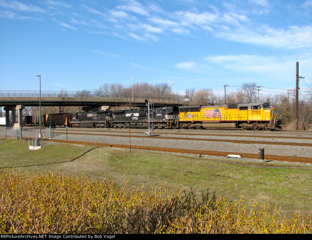 UP 3793; NS 9823 and 8743