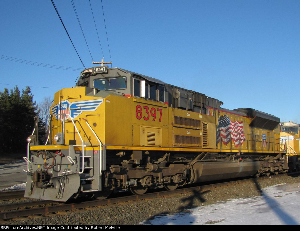 UP 8397 heads west at CP 382