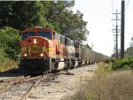 With a D801 crew aboard, BNSF 8969 & 9540 lead coal loads north towards West Olive