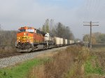 As the morning fog burns off, BNSF 5602 leads E950 west