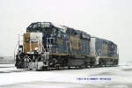 CSXT 6450 and 2245 in heavy snowfall, Memphis Jct. Yard