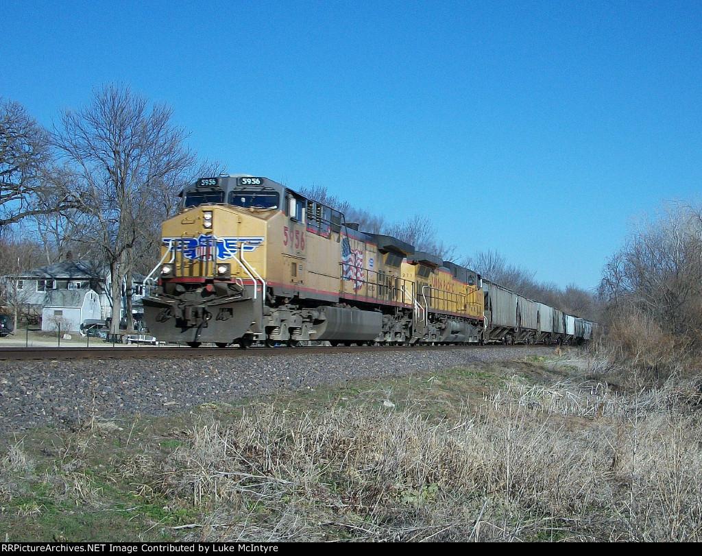 UP 5956 westbound UP empty grain train