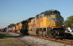 A southbound Union Pacific double-stack train rattles through Folkston.