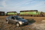 HLCX SD40s and our hire car (Ford Focus)