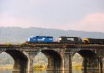 NS SD40-2 3365 & 6104 cross the Rockville Bridge