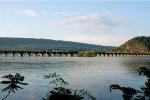 An NS Ballast Train Crosses the Rockville Bridge