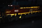 BNSF 6633 Lights up her BNSF Reflective Swoosh Logo and her LED Road Number Lights stand out too as she pushes a eastbound Z as a rear DPU in this early morning flash shot.