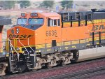 BNSF 6636 rolls westbound on Christmas Morning as a # 3 unit pulling a Z-Train.