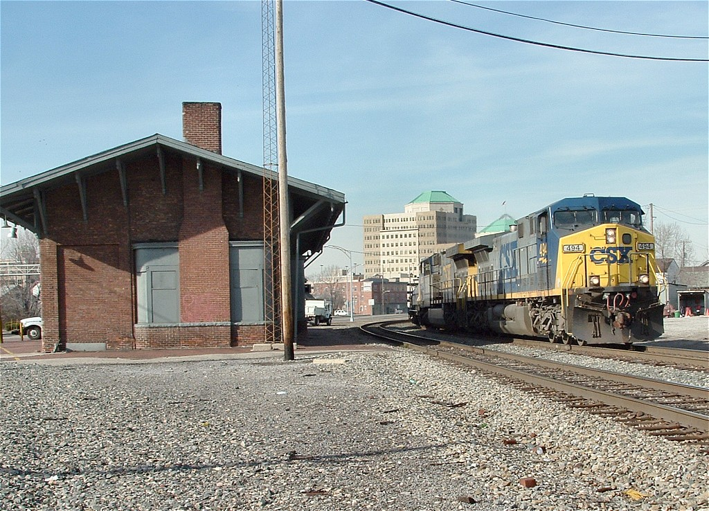 Southbound at the depot
