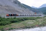 CN 5704 and 5777 depart Cadomin with loaded limestone cars headed for Edmonton