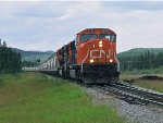CN 5704 and 5777 approach Fiddler at MP 19 CN Mountain Park Sub