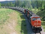 CN 5704 and 5777 pass under the Forestry Trunk Road at MP 9 CN Mountain Park Sub