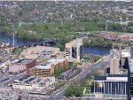 060426001 Aerial view of Nicollet Island and site of former downtown Mpls GN Depot