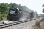 NS 6082 is lead in 3unit McIntyre Switcher pushing 48 loaded covered hoppers and tanks on 5-20-60