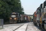 NS 6573 leads a fast train of empties on 5-21-06 through yard