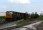 A pair of SD70MAC's lead Q335 down the hill
